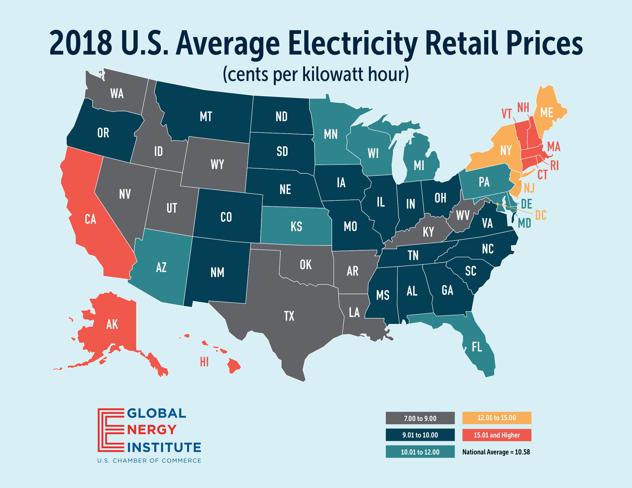 Average Electricity Retail Prices Global Energy Institute - Us-electric-utility-map
