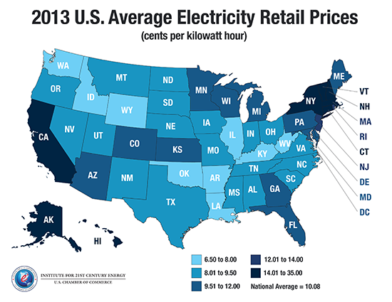 MAP Retail Electricity Prices By State Global Energy Institute - Us electricity map